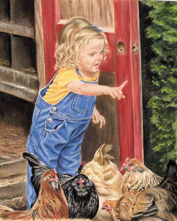 Little Girl Poster featuring the painting Fowl Play by Vanda Luddy