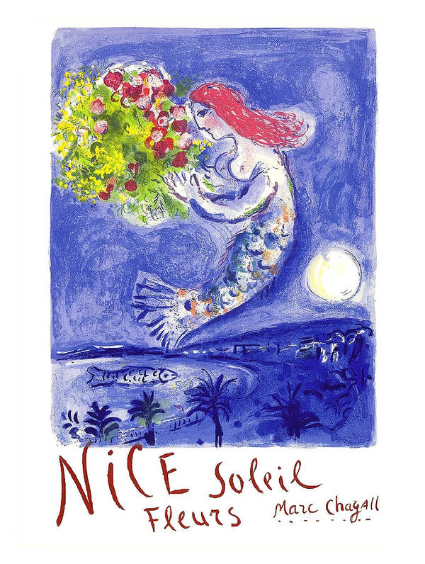 France Nice Soleil Fleurs Vintage 1961 Travel Poster by Marc Chagall by Retro Graphics