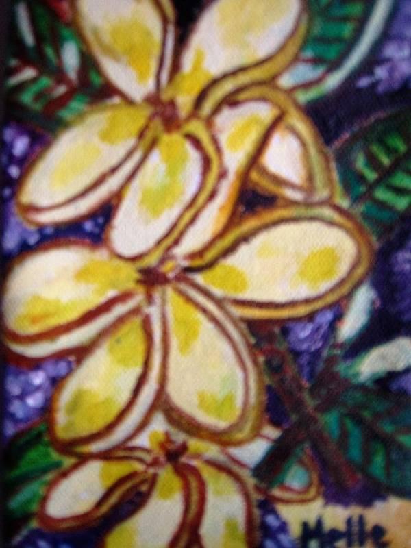 Frangipani Poster featuring the painting Frangipani In The Tropics Series 1 by Carmela Maglasang