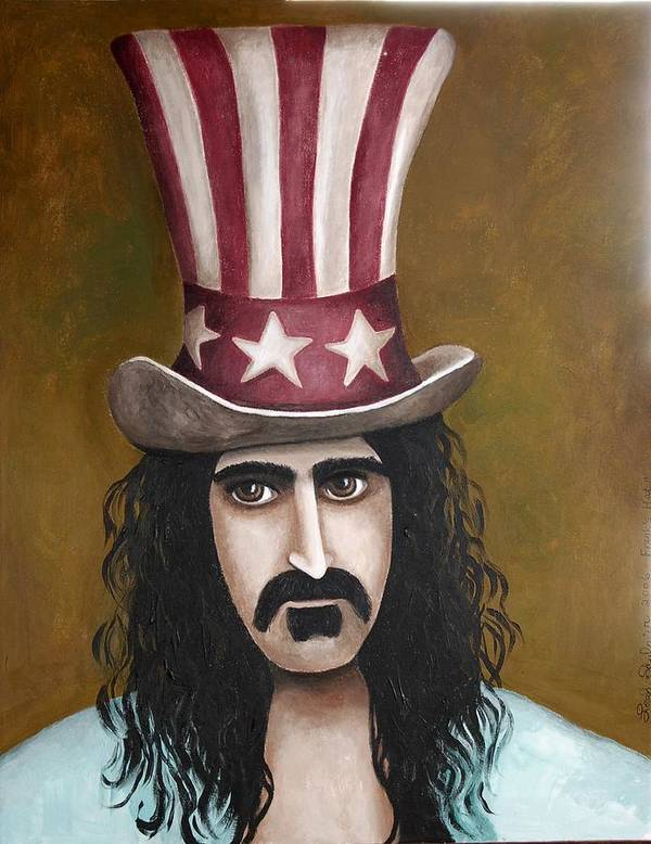 Frank Zappa Poster featuring the painting Franks Hat by Leah Saulnier The Painting Maniac
