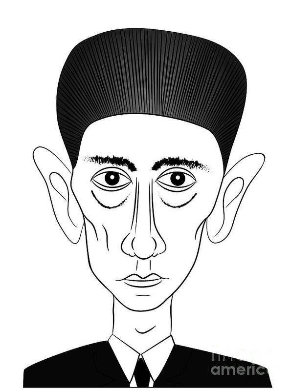 Kafka Poster featuring the drawing Franz Kafka by Michal Boubin
