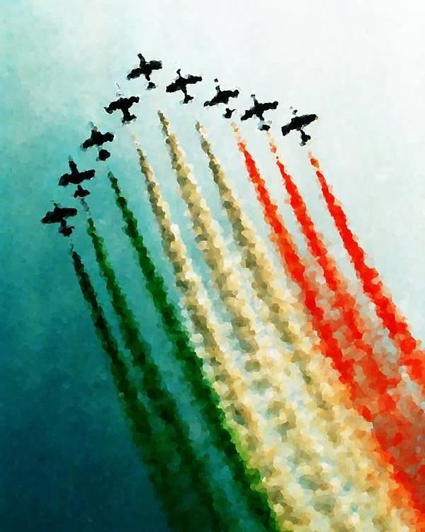 Tricoloured Poster featuring the photograph Frecce Tricolori by Andrea Barbieri