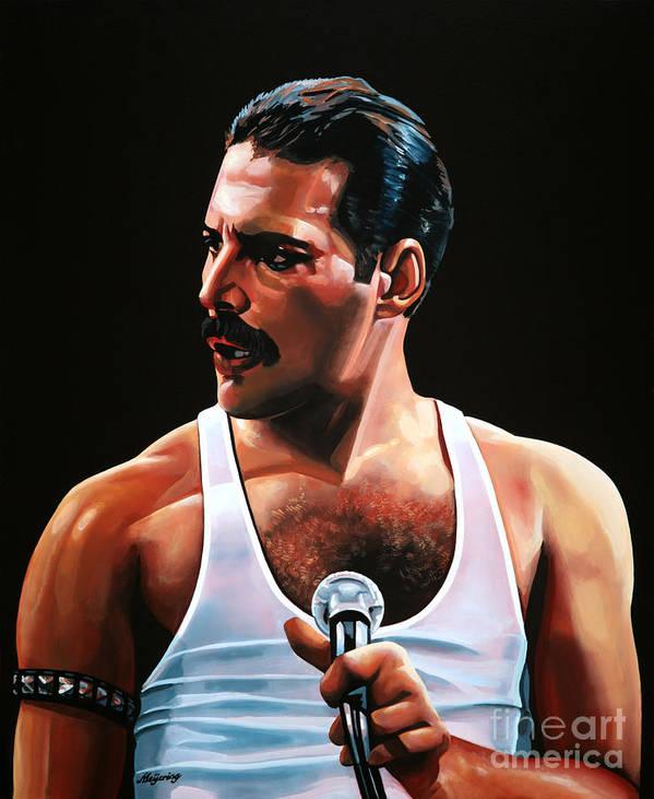 Freddie Mercury Poster featuring the painting Freddie Mercury by Paul Meijering
