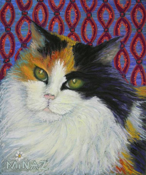 Cat Poster featuring the painting Fred's Cat by Minaz Jantz