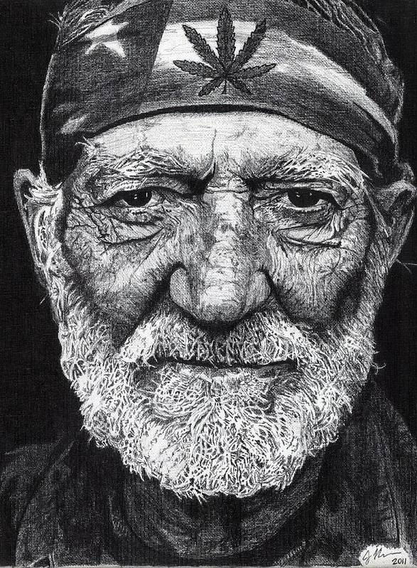 Willie Nelson Poster featuring the drawing Free Willie by Jeff Ridlen