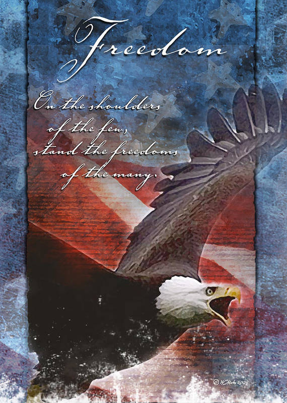 Troop Support Greeting Card Poster featuring the painting Freedom Greeting Card by William Martin