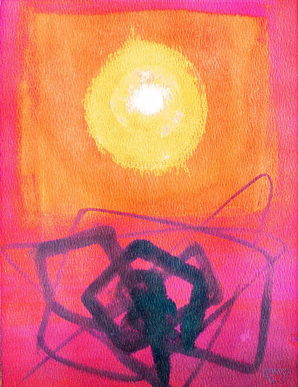Abstract Yellow Orange Red Black Brush Strokes Enlightened Emotions Free Poster featuring the painting Freeing The Tangled Mind by Jennifer Baird