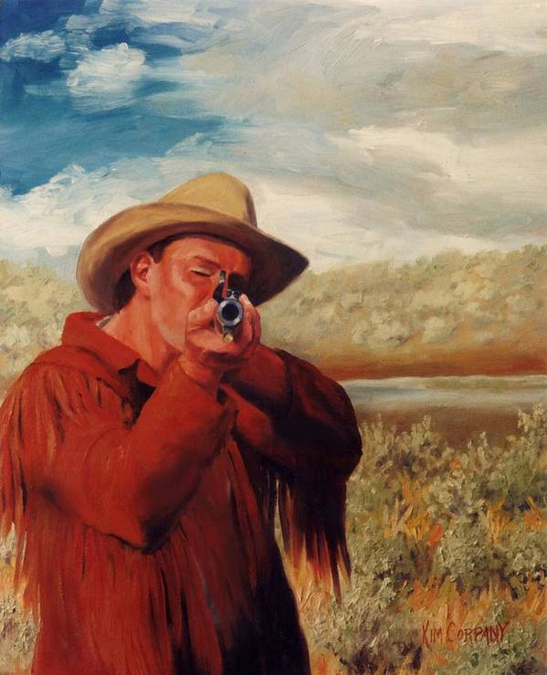 Cowboy Poster featuring the painting Freeze  Rifleman With Muzzle Loader Western Painting by Kim Corpany