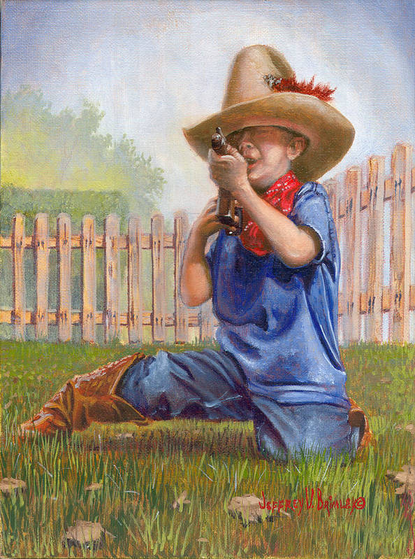 Cowboy Poster featuring the painting Freeze Buckaroo by Jeff Brimley