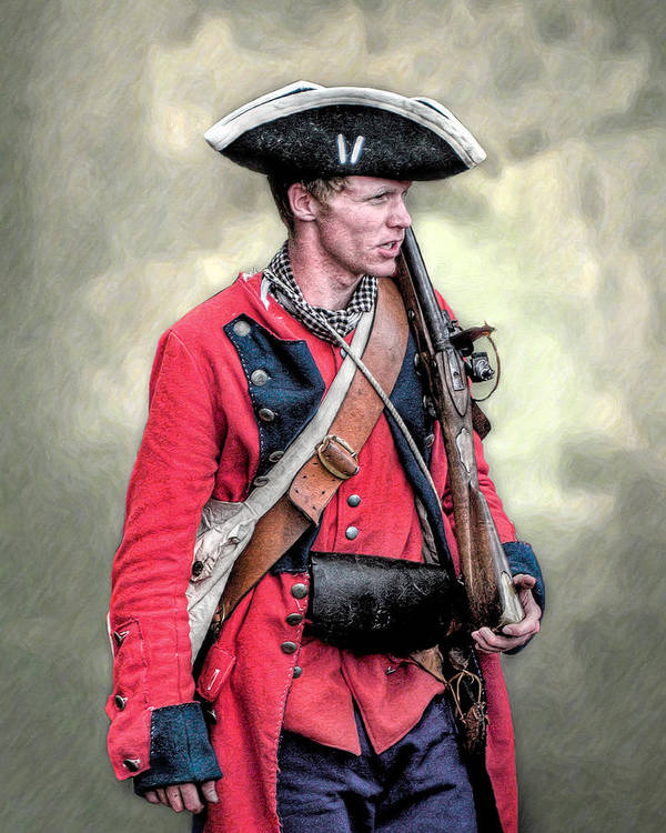 Uniform Poster featuring the digital art French And Indian War British Royal American Soldier by Randy Steele