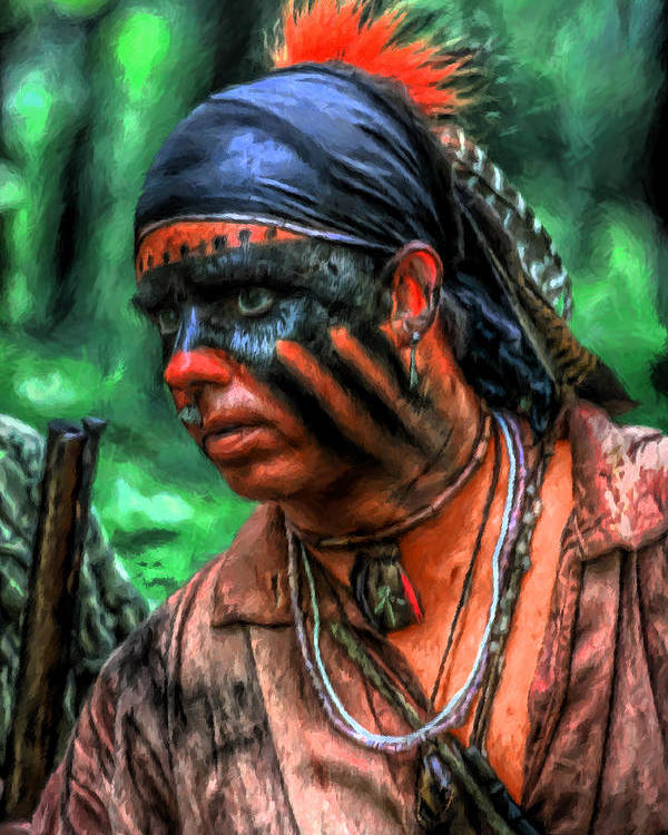 Warrior Poster featuring the digital art French And Indian War Indian Warrior by Randy Steele