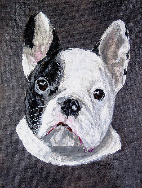 French Bulldog Dog Poster featuring the painting French Bulldog Close Up by Ben Soedjono