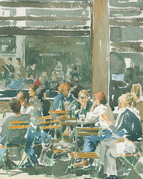 Watercolour Poster featuring the painting French Cafe Scene by Ian Osborne