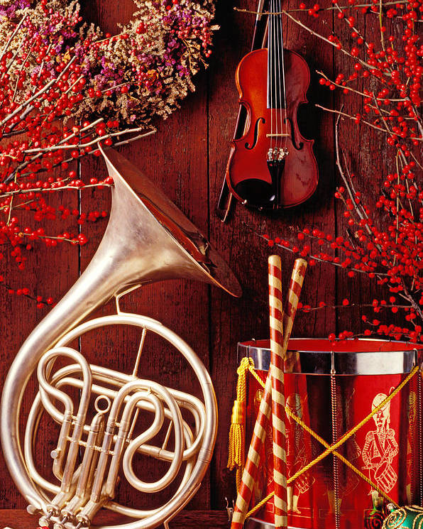 Violin Poster featuring the photograph French Horn Christmas Still Life by Garry Gay