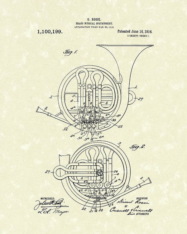 Music Poster featuring the drawing French Horn Musical Instrument 1914 Patent by Prior Art Design
