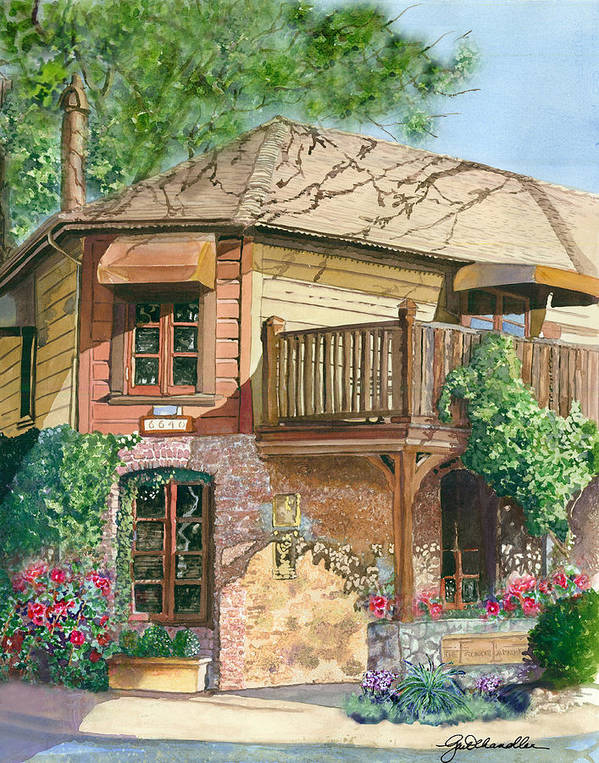 Cityscape Poster featuring the painting French Laundry Restaurant by Gail Chandler