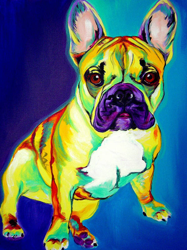 Dog Poster featuring the painting Frenchie - Tugboat by Alicia VanNoy Call