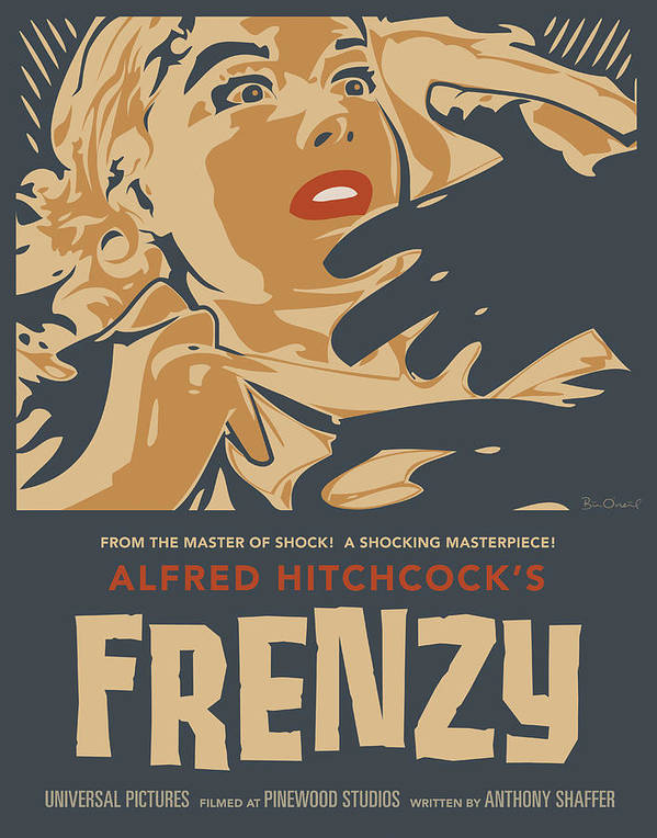 Film Poster featuring the print Frenzy - Thriller Noir by Bill ONeil