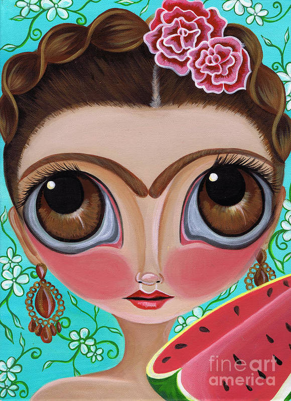Frida Poster featuring the painting Frida And The Watermelon by Jaz Higgins