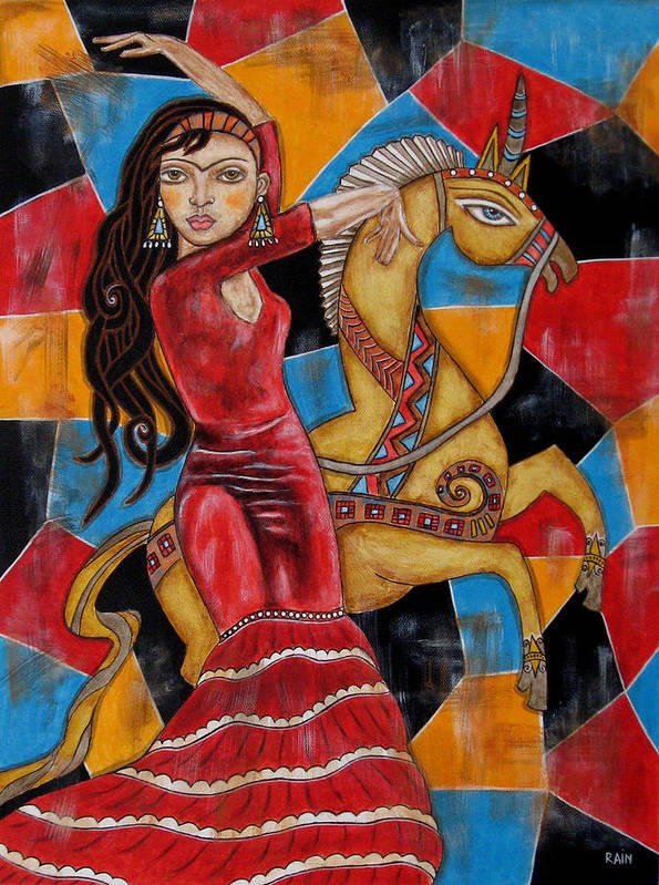 Frida Kahlo Paintings Poster featuring the painting Frida Kahlo Dancing With The Unicorn by Rain Ririn