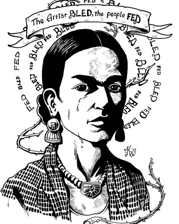 Frida Poster featuring the drawing Frida by Marcus Anderson
