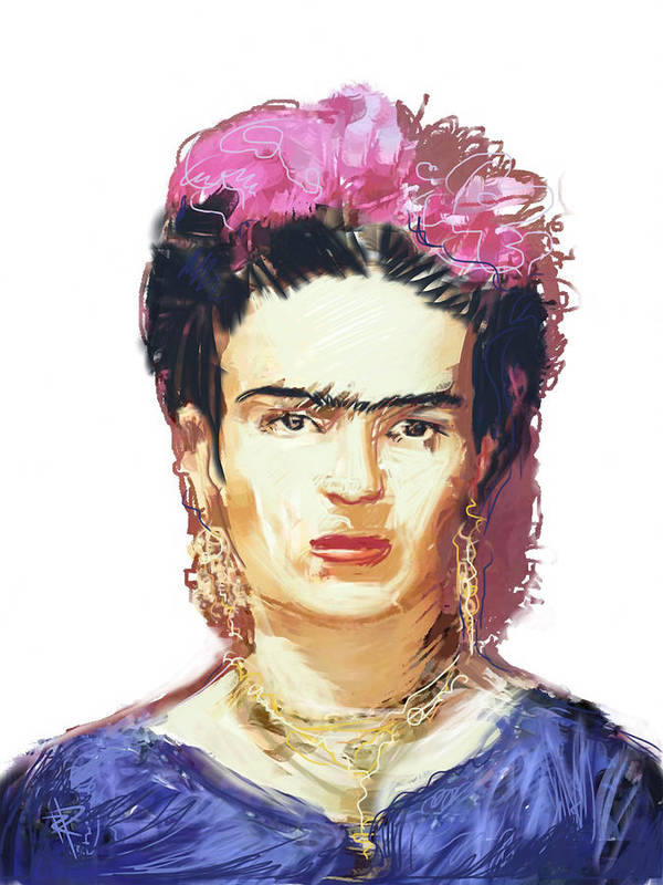 Frida Kahlo Poster featuring the mixed media Frida by Russell Pierce