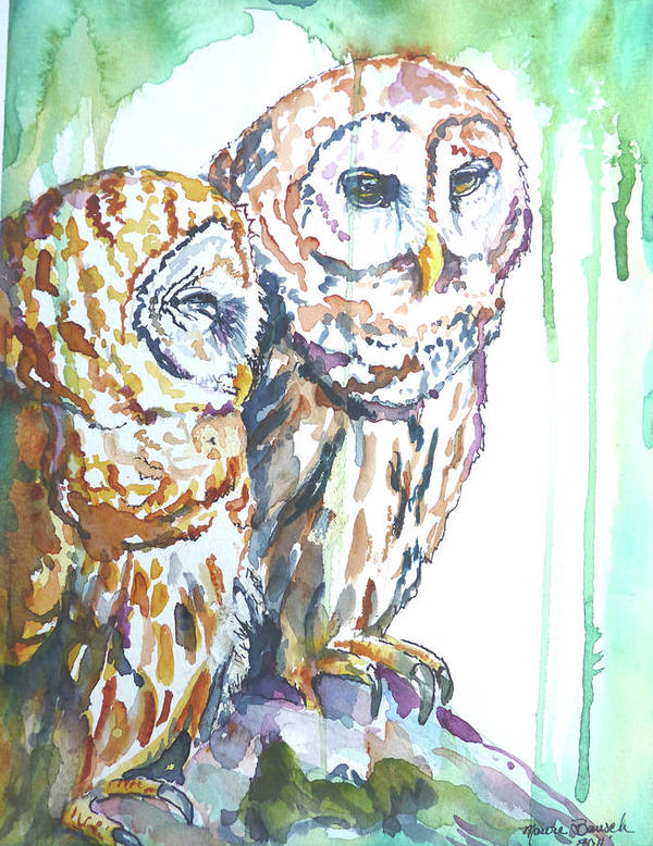 Owls Poster featuring the sculpture Friends by P Maure Bausch