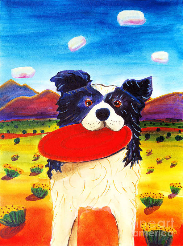 Dog Poster featuring the painting Frisbee Dog by Harriet Peck Taylor