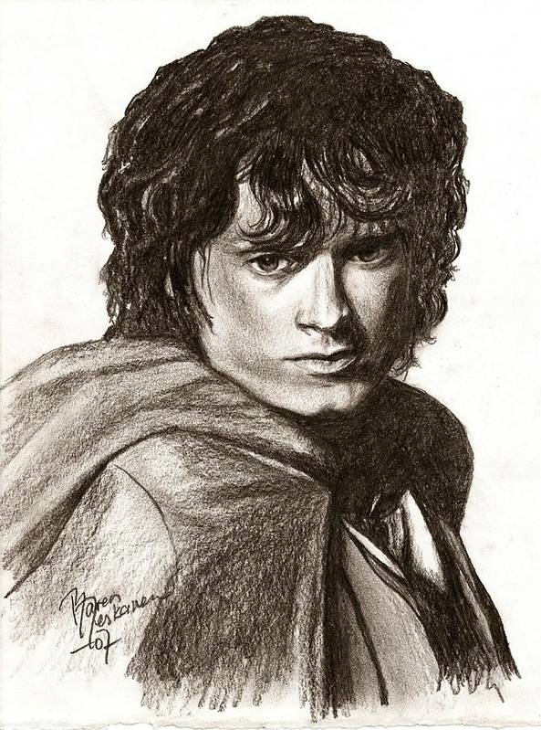 The Lord Of The Rings Poster featuring the drawing Frodo by Maren Jeskanen