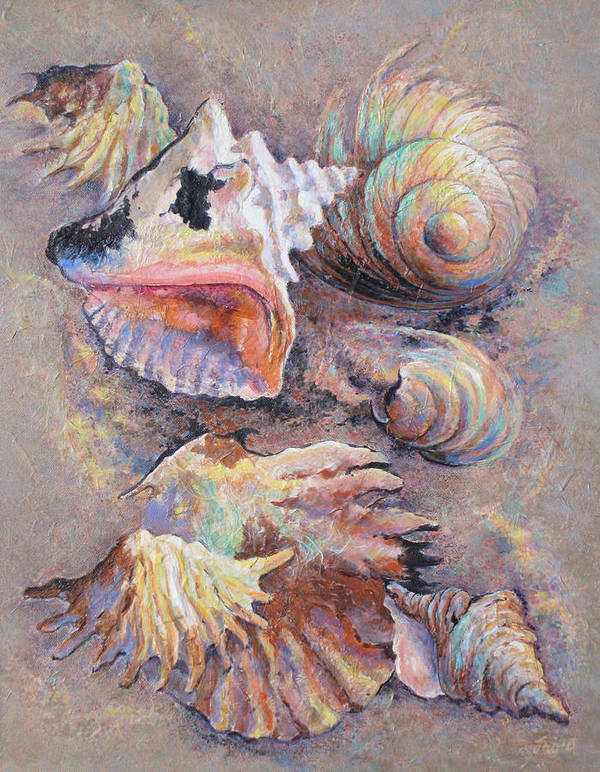 Multicolored Seashells Poster featuring the painting From Ancient Designs by Don Trout
