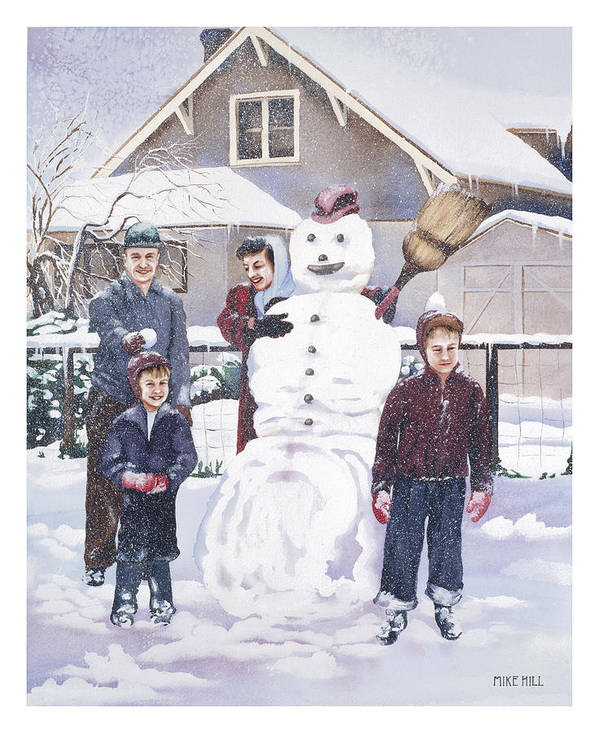 Snow Man Mother Father Kids Blizzard White Boots Hats Cold Portland Oregon 1950 Frozen Freezing Ice Poster featuring the painting Frosty In Fifty by Mike Hill