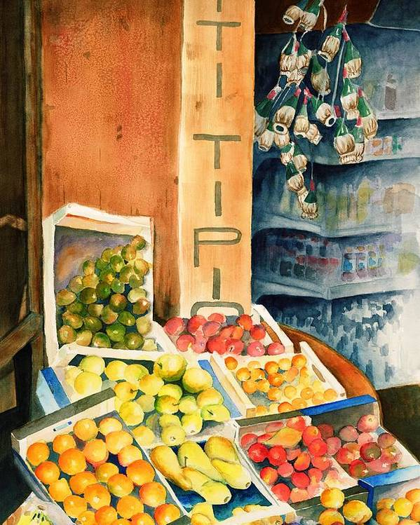Fruit Shop Window Poster featuring the painting Fruit Shop In San Gimignano by Judy Swerlick