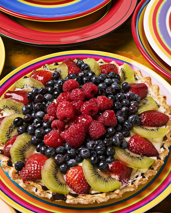 Fruit Poster featuring the photograph Fruit Tart Pie by Garry Gay