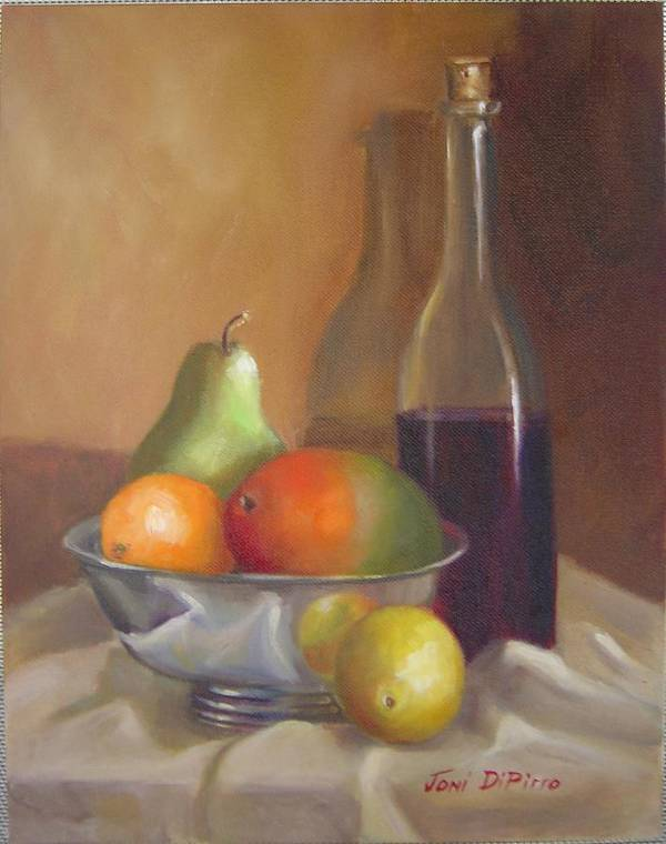 Still Life Poster featuring the painting Fruit With Bottle Of Wine by Joni Dipirro