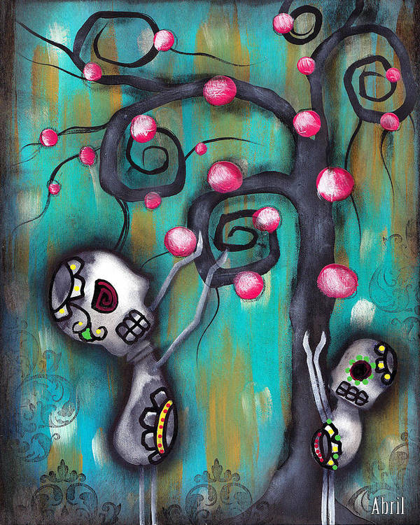 Day Of The Dead Poster featuring the painting Fruits by Abril Andrade Griffith