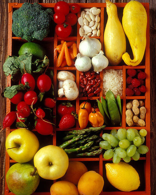 Fruits Vegetables Apples Grapes Compartments Poster featuring the photograph Fruits And Vegetables In Compartments by Garry Gay