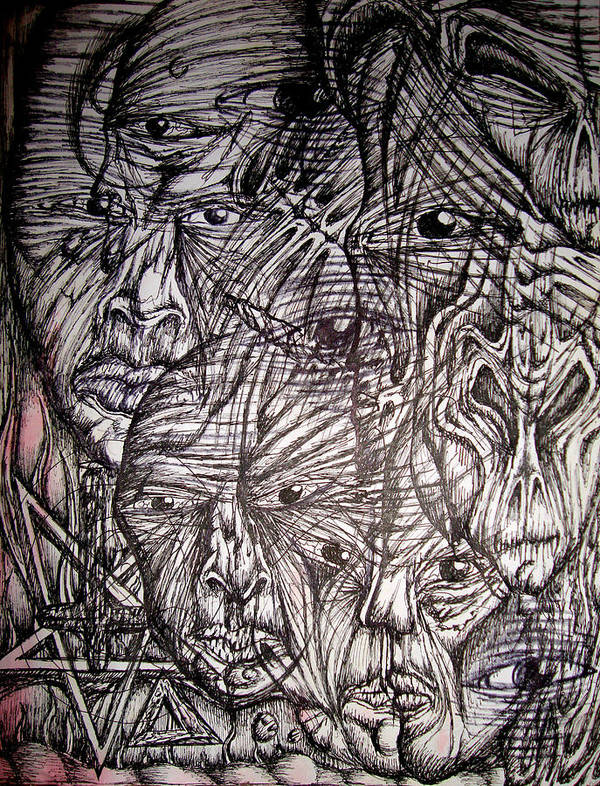 Dimensional Poster featuring the drawing Frustration by Leigh Odom