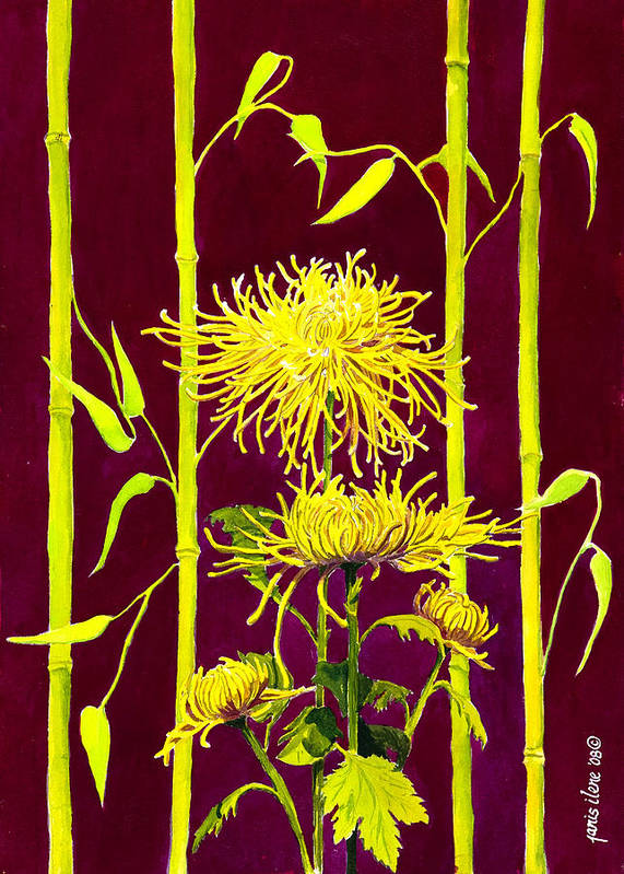 Flower Poster featuring the painting Fuji Mums And Bamboo by Janis Grau