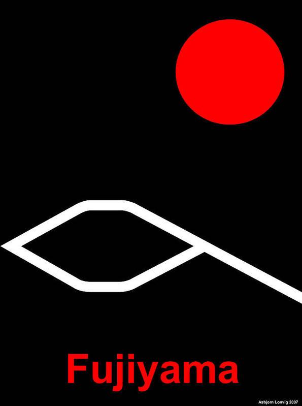 Fuji Poster featuring the digital art Fujiyama by Asbjorn Lonvig