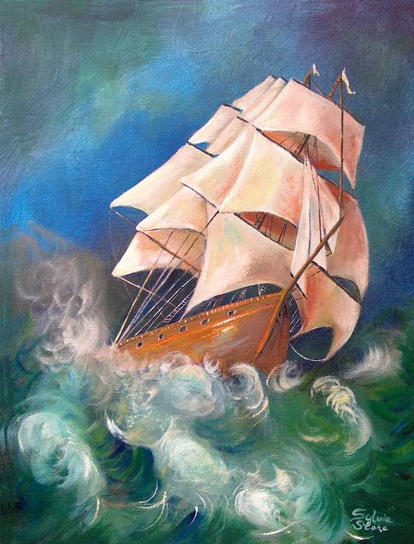 Sail Poster featuring the painting Full Blowm by Sylvia Stone