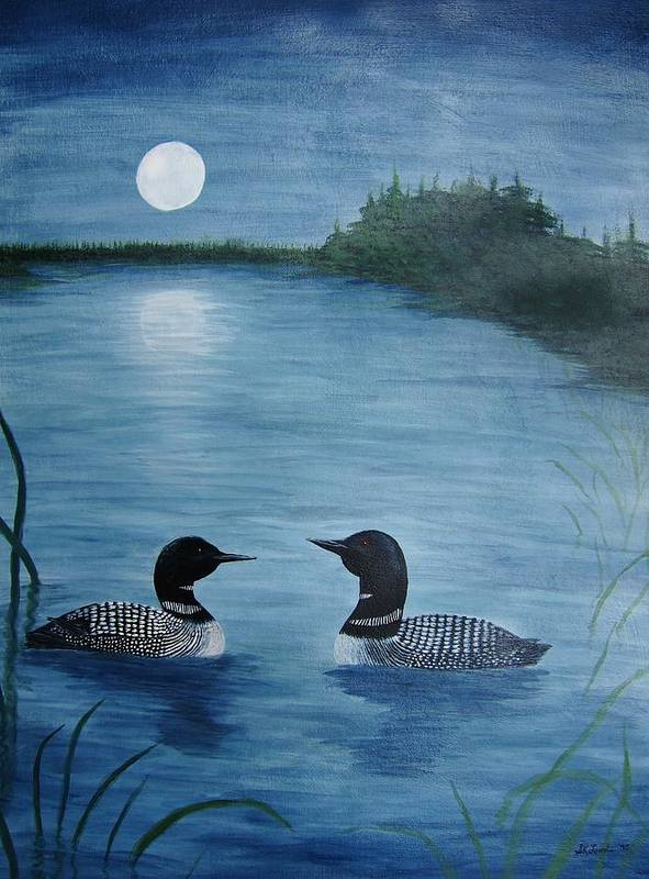 Loons Poster featuring the painting Full Moon Loon by Sandra Lunde