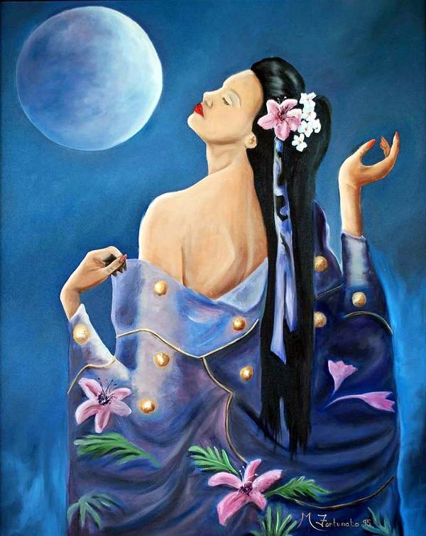 Beauty Poster featuring the painting Full Moon by Margaret Fortunato