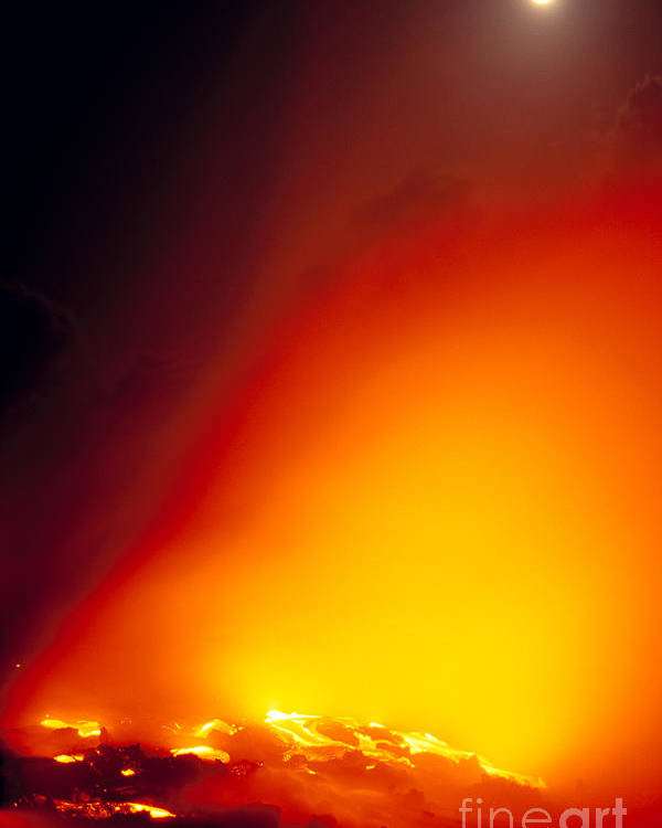 A'a Poster featuring the photograph Full Moon Over Lava by Peter French - Printscapes