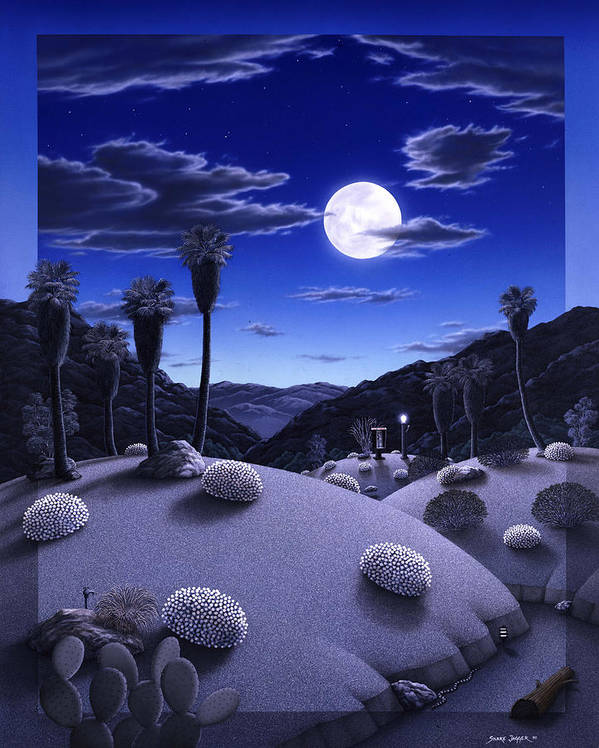 Desert Poster featuring the painting Full Moon Rising by Snake Jagger