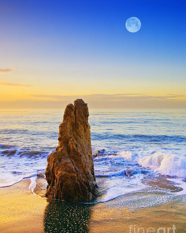 Beaches Poster featuring the photograph Full Moon Setting by Greg Clure
