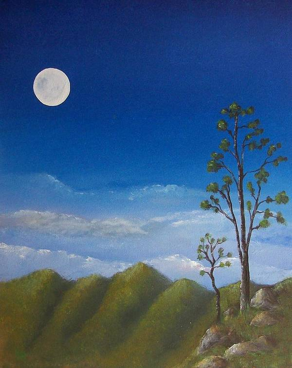 Landscape Poster featuring the painting Full Moon by Tony Rodriguez