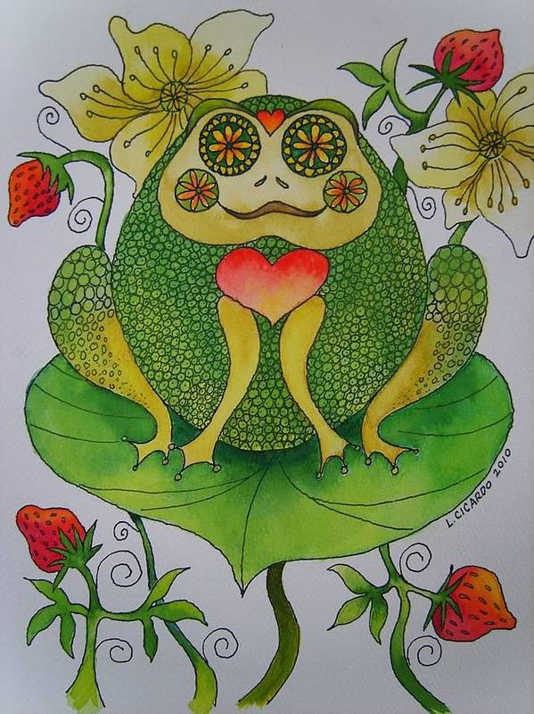 Illustration Poster featuring the painting Fun Frog II by Lou Cicardo