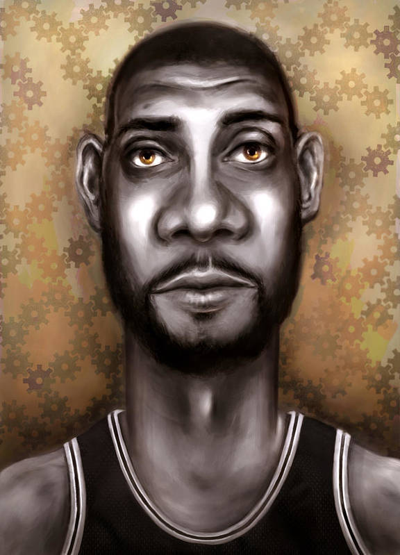 Tim Duncan Poster featuring the painting Fundamental by Jack Perkins