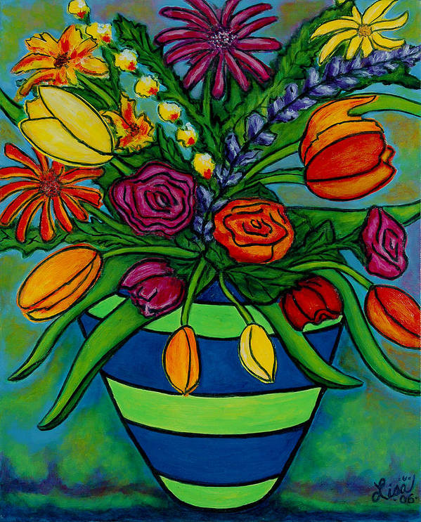 Flowers Poster featuring the painting Funky Town Bouquet by Lisa Lorenz