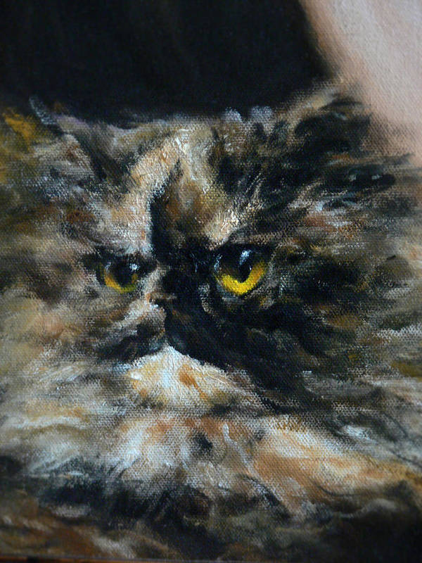 Cat Poster featuring the painting Furry by Valeriy Mavlo